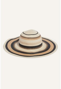 Blackwhite Monochrome Straw Floppy Hat