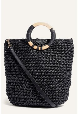 Black Wooden Handle Straw Tote