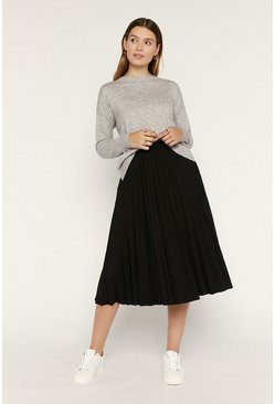 Black Plain Pleated Midi Skirt