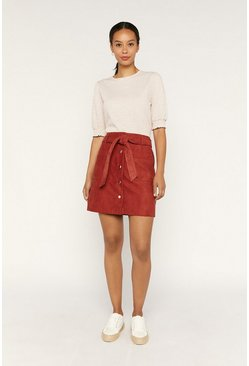 Dark brown Faux Suede Utility Mini Skirt