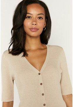 Beige Rib Button Knitted Top