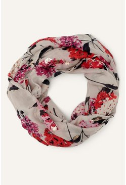 Multi Oversized Foil Floral Print Scarf
