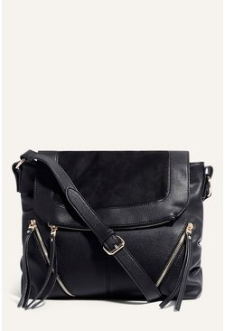 Black Cara Zip Satchel