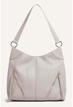 Pale grey Cherry Zip Hobo