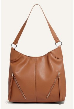 Tan Cherry Zip Hobo Bag