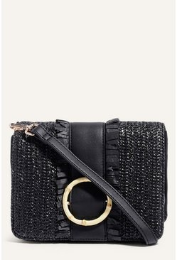 Black Bamboo Buckle Straw Cross Body
