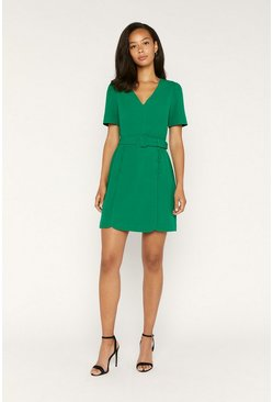 Green Button Detail Shift Dress