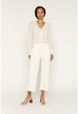 Off white Pointelle Fluffy Cardigan