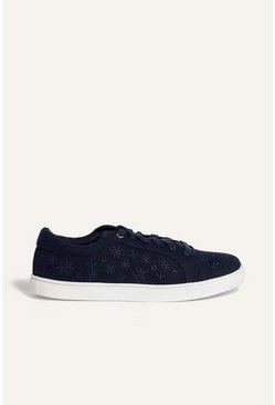 Navy Embroidered Trainer