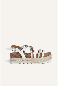 White Diamante Flatform Sandal