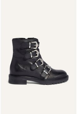 Black Leather Buckle Boot