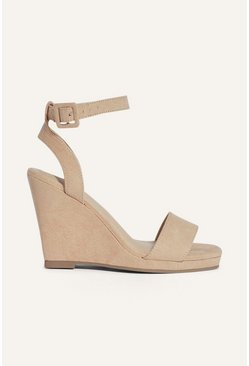 Cream Square Toe Microsuede Wedge