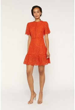 Orange Lace Angel Sleeve Skater Dress