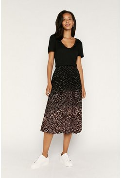 Black Ombre Animal Pleated Skirt