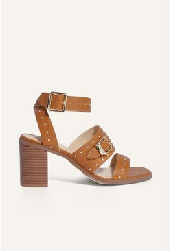 Tan Studded Strappy Sandal