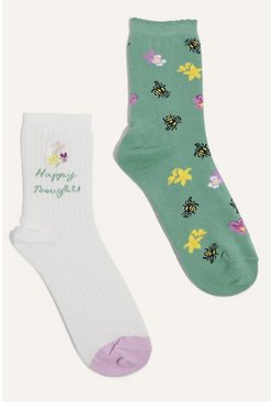Multi Happy Thoughts 2 Pack Sock