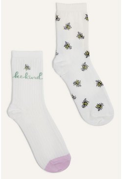 Multi Bee Kind 2 Pack Sock