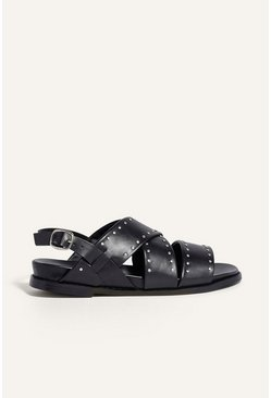 Black Studded Footbed Sandal