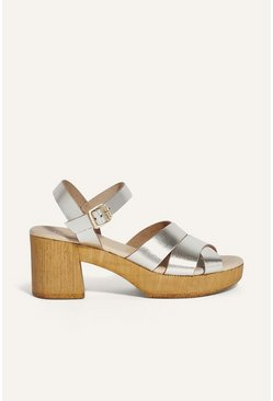 Gold Leather Block Heeled Sandal
