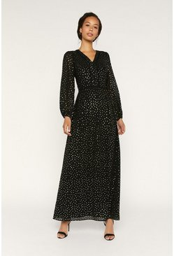 Black Glitter Maxi Sheer Sleeve Dress