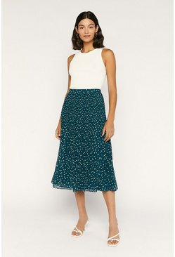 Green Spot Mushroom Pleat Midi Skirt