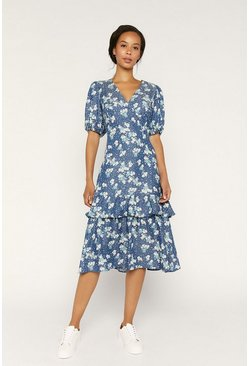 Blue Ditsy Floral Wrap Dress