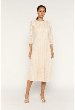 Off white Floral Mesh Midi Dress