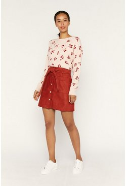 Pink Cherry Print Crew Neck Jumper