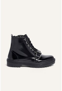 Black Lace Up Buckle Boot
