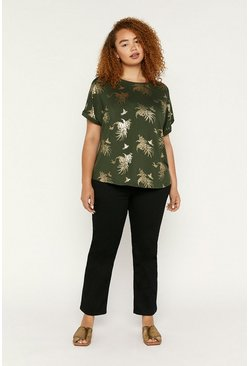 Khaki Curve Tropical Foil T Shirt