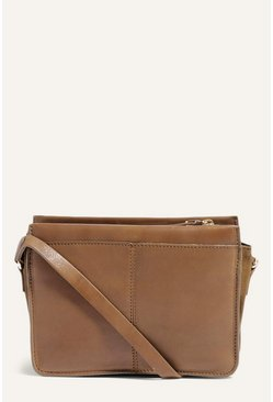 Khaki Leather Multi Compartment Bag
