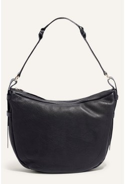 Black Leather Plait Detail Hobo Bag
