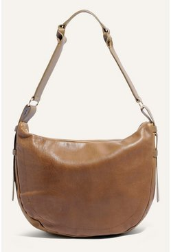 Khaki Leather Plait Detail Hobo Bag