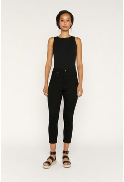 Black Straight Leg Cropped Jean
