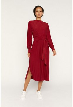 Red Pleat Midi Dress
