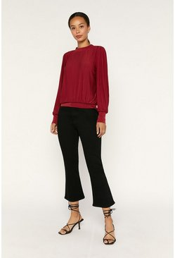 Red Pleat Top