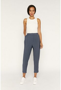 Dark blue Turn Up Peg Leg Trousers