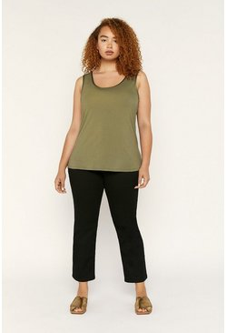 Khaki Curve Satin Trim Core Vest