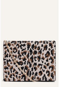 Multi Beaded Leopard Small Bag