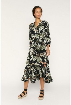 Black Tropical Leaf Bird Midi Dress