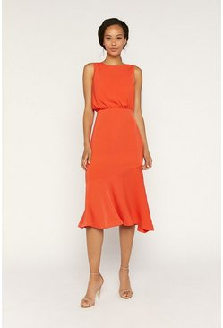 Orange Draped Wrap Back Midi Dress