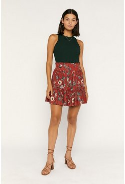 Red Balinese Ruffle Mini Skirt