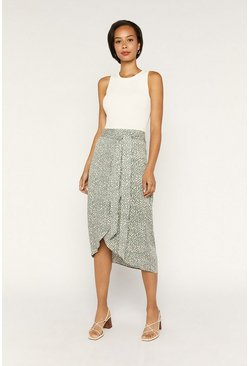 Khaki Textured Wrap Midi Skirt