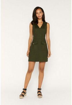 Khaki Vneck Utility Dress