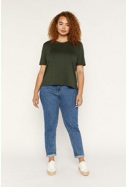 Khaki Curve Formal Step Hem T Shirt