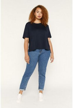 Navy Curve Formal Step Hem T Shirt