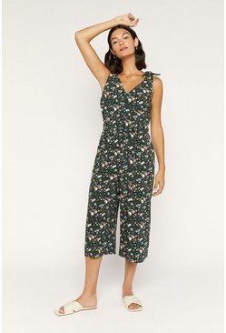 Black Rose Tie Shoulder Jumpsuit
