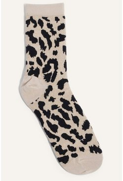 Cream Leopard Single Sock