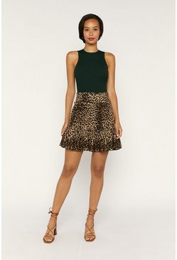 Animal Tiered Mini Skirt