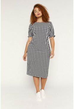 Blackwhite Curve Gingham Midi Dress